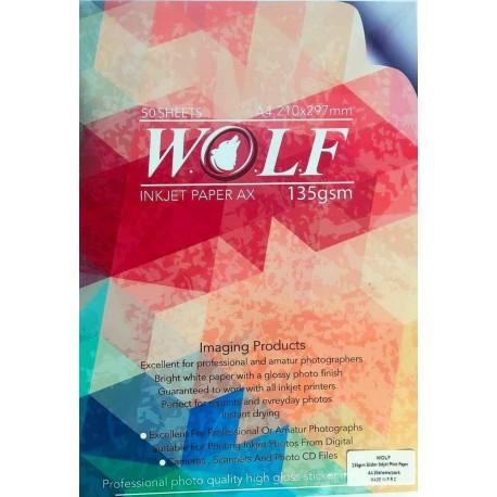 فتوگلاسه 135 گرم چسبدار A4 - Wolf