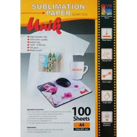 کاغذ سابلیمیشن 100 گرم - A4 Unik