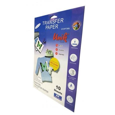 کاغذ ترنسفر تی شرت روشن A4 - Unik