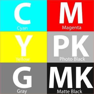 ست کامل شش رنگ (C M Y PK MK G)